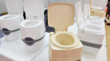 Portable chemical toilets in the shop at the exhibition